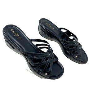 Cole Haan Black Leather Nike Air Wedge Sandal 8.5